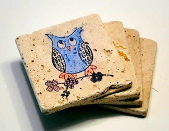 Colorful Owl Coasters - Set of 4