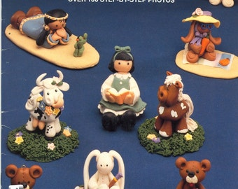 Fimo Clay-Mates: 14 Clay Figures Shown, Tutorial, Book, Polymer Clay, Clay, Sculpey, supply, tools, Metal Clay, Jewelry