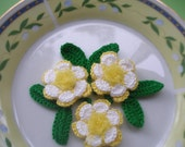 3  Crochet Applique Flowers , 3 Leaves , Crochet Embellishment