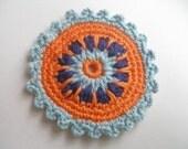 1 Pcs  Cotton Crochet Applique Circle...Pattern Applique...Crochet Applique...Embellishment... Lavender