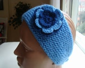 Crochet Earwarmer Headband With Flower....Blue and Navy Blue