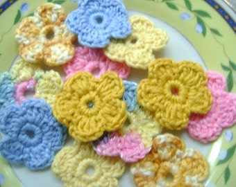 Cotton Crochet Applique Flowers...Crochet Pattern...Embellishment