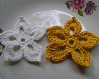 COTTON- Crochet Applique  Flowers