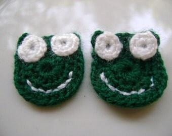 COTTON Crochet Applique  frogs...Crochet...Crochet Applique