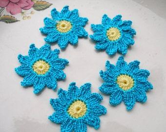 5 Pcs Cotton Crochet Applique Flowers...Pattern Applique...Crochet Applique...Embellishment