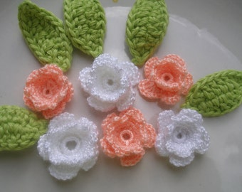 Crochet Applique Flowers and  leaves