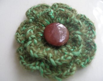 Crocheted  brooch made with handmade wool yarn...