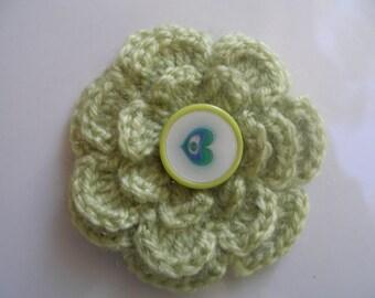 Crocheted brooch made with handmade wool...