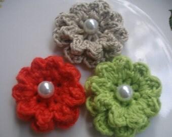 """3 Pcs 1.57"""" Cotton  Applique Crochet Flowers...Crochet Pattern"""