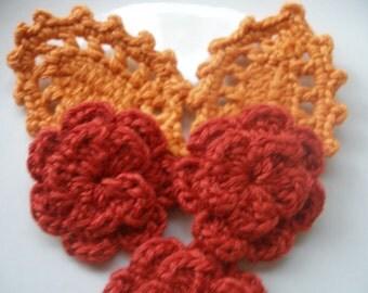 3 Pcs Cotton Crochet Applique Flowers...Pattern Applique...Crochet Applique...Embellishment