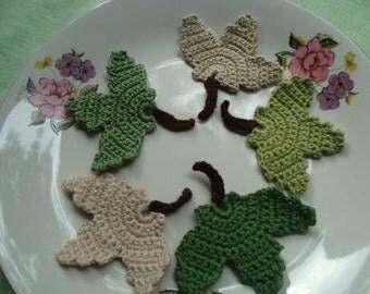 5 Pcs Cotton Handmade Crochet Applique Leaves...Pattern Applique...Crochet  Coaster...Embellishment