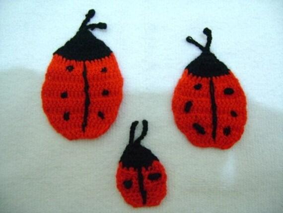 3 Pcs Crochet Appliques Ladybird ...Crochet Pattern...Embellishment...Red and Black