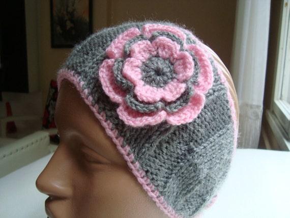 Crochet Earwarmer Headband With Flower...Crochet Pattern...Gray and Pink