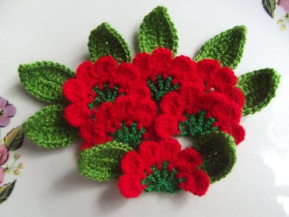 Crochet Applique Flowers and  leaves...