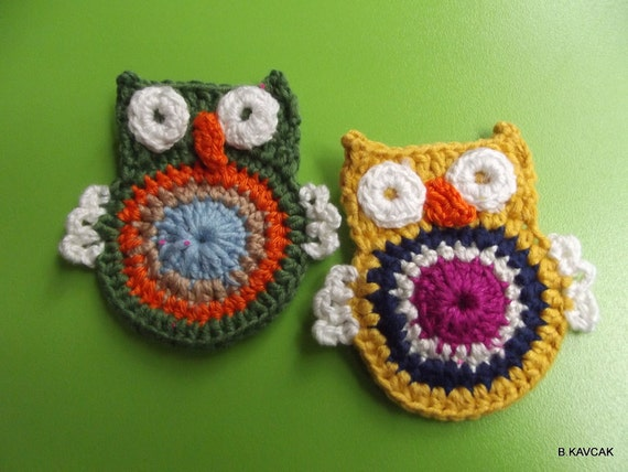 2 psc COTTON CROCHET APPLIQUE owl