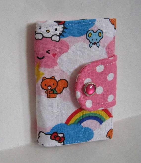 kawaii business card holder with snap closure in Hello Kitty, Kawaii White