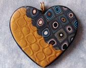 Handmade Polymer Clay Heart Pendant VI