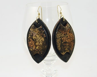 Handmade Black and Gold Textured Earring, Polymer Clay Earrings, Leaf Earrings, Handmade, Jewelry, Gift for Her, Mom Gift
