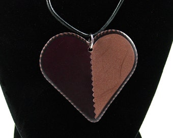Heart Necklace, Pendant, Brown and Bronze Necklace, Polymer Clay Necklace, Handmade, Heart, Gift for Her, Mom Gift