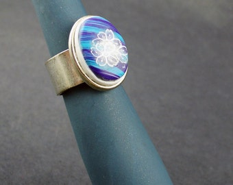 Polymer Clay Ring, Handmade Blue and Purple ring, Polymer Clay, Oval Ring, Ring Set, Blue and Purple, Metal Ring, Jewelry, Polymer Clay Ring