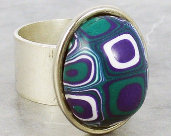 Handmade Gustavv Klimt/Retro Cane Ring, Gustav Klimt, Retro Cane Ring, Metal Ring, Jewelry, Polymer Clay Ring