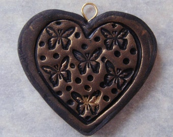 Polymer Clay Heart Pendant, Textured Pendant, Stamped Pendant, Handmade, Polymer Clay Pendant, Butterfly, Jewelry, Mom Gift, Gift for Her