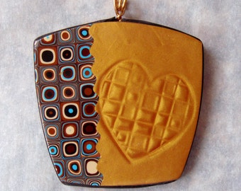 Gold Mica shift and Klimt Necklace, Heart Inlay, Klimt Pendant, Retro Cane Pendant, Handmade, Polymer Clay, Gold, Jewelry, Necklace