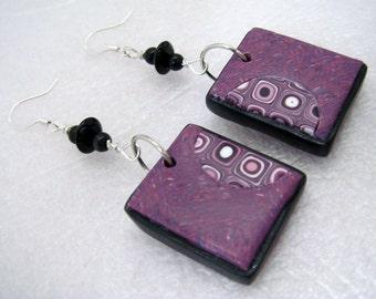 Polymer Clay Magenta OOAK Gustav Klimt Matching Earrings, Square Earrings, Gustav Klimt Earrings, Set, Jewelry, Tile Earrings, Mom Gift