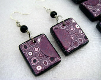 Magenta OOAK Gustav Klimt/Retro Cane Matching Earrings, Polymer Clay Earrings, Handmade, Jewelry, Tile Earrings, Gift for Her, Mom Gift