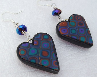 Emerald Gold and Purple Heart Earrings, Polymer Clay Earrings, Handmade Earrings, Jewelry, Heart Earrings, Mom Gift, Gift for Her