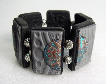 Grey Tile Bracelet, Polymer Clay Bracelet, Handmade Bracelet, Jewelry, Textured Bracelet, Tile Bracelet, Grey, Gift for Her, Mom Gift
