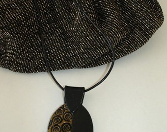 Black and Gold Snail Oval Necklace