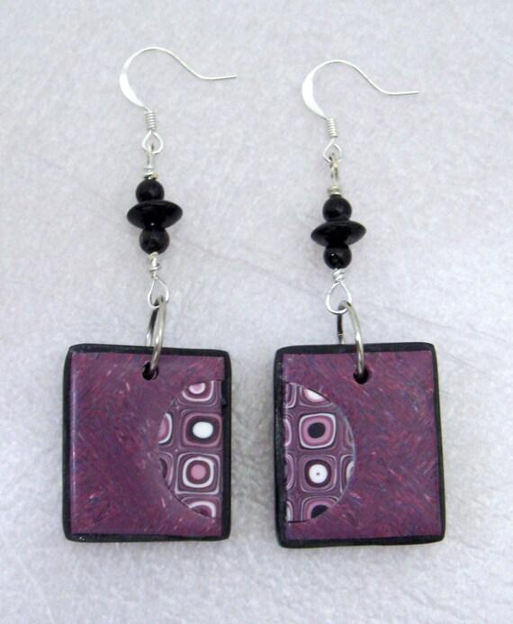 Magenta OOAK Klimt/Retro Cane Matching Earrings