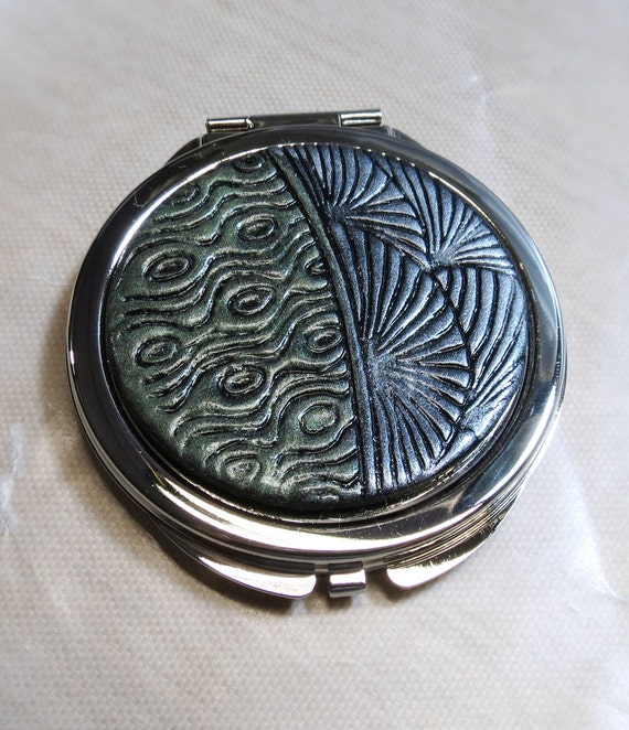 Handmade OOAK Blue and Green Polymer Clay Covered Compact Mirror - 2 sides