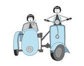 Flappers on a blue Vespa // art print scooter illustration