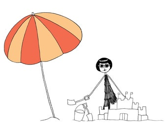 Summer fun // art print // Eloise builds a sandcastle at the beach flapper drawing