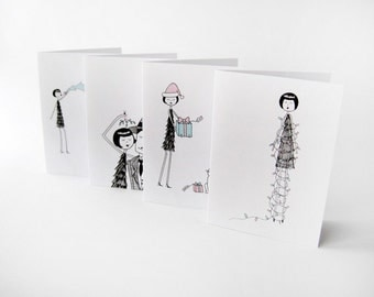 1920s Flapper Christmas Cards // set of 8 cards