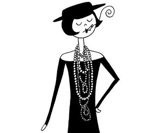 Coco Chanel in the 1920s // fashion art print illustration