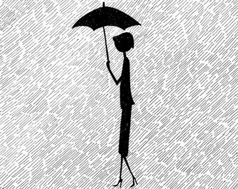 Here's that rainy day // April showers rainy black and white illustration // art print