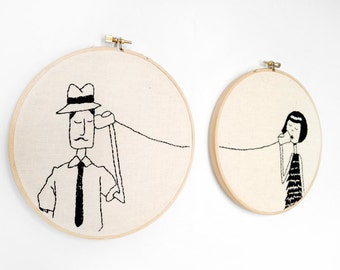 Ernest and Eloise play telephone // Printable PDF Valentine Embroidery Pattern