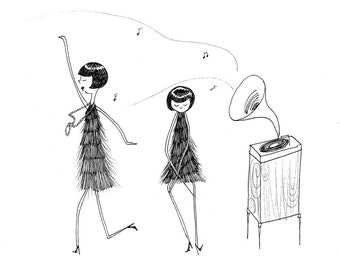 Flappers dance the Charleston // black and white art print drawing