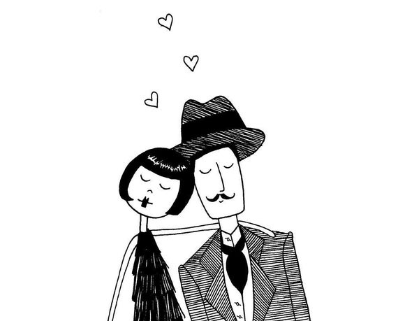 Head over heels // Couple in love anniversary black and white drawing // art print