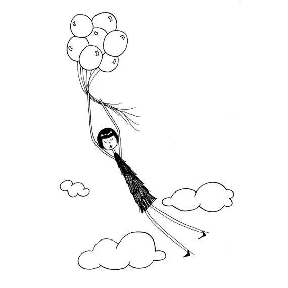 Balloon nursery decor // Eloise gets carried away illustration // art print