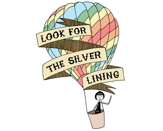 Look for the silver lining // art print // inspirational quote hot air balloon drawing
