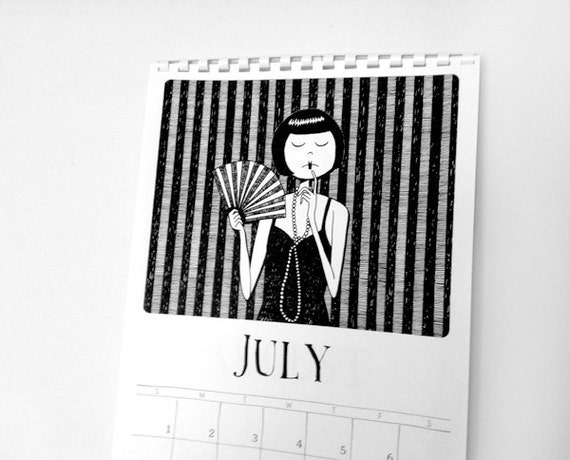 2016 Wall Calendar // 1920s style flapper doodle calendar // art deco PDF Printable