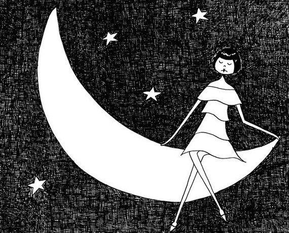 To the moon and back // 1920s black and white illustration // art print