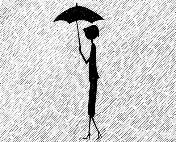 Here's that rainy day // April showers rainy black and white illustration // art print