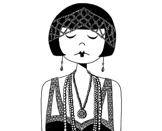 Star of the Silver Screen // art print Illustration of a flapper vamp 1920s girl