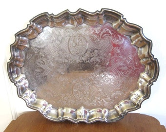 Silverplate Serving Tray Footed, Engraved Trophy Award