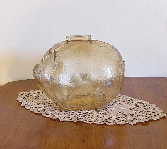 Large vintage marigold glass piggy bank no cheating - Piggy bank without stopper ...